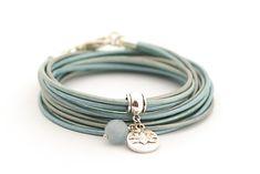Aquamarine Bracelet Metallic Blue Wrap Bracelet by cardioceras
