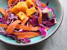 Miso and Mango Red Cabbage Salad - Sweet Potato Soul by Jenné Claiborne Raw Cabbage, Red Cabbage Salad, Raw Sweet Potato, Sweet Potato Recipes, Raw Vegan Recipes, Cooking Recipes, Healthy Recipes, Vegetarian Cabbage, How To Eat Less