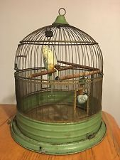 Vtg HENDRYX Brass Metal Green Painted Bird Cage w/ Parrots & Toys