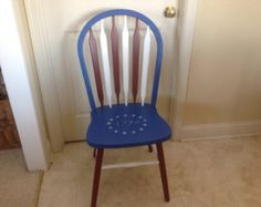 Hand painted red  white and blue chairpatriotic red  white and blue chair   my furniture   Pinterest  . Red White And Blue Painted Furniture. Home Design Ideas