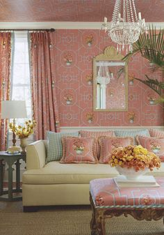 Orchid #wallpaper and #fabric in #coral from the Spring Lake collection. #Thibaut