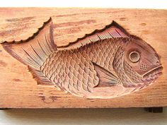 Vintage Japanese Kashigata Sweets Mold Tai Taiyaki Fish BIG