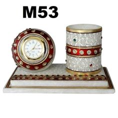 Contemporary Marble Table Clock & Pen Holder HandCrafted And Embossed With Meenakari/Kundan Work by HandicraftsByNew on Etsy