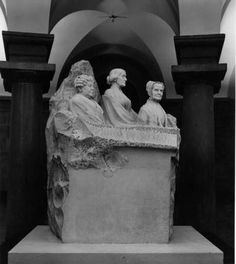 Suffrage Monument  Elizabeth Cady Stanton, Susan B. Anthony and Lucretia Mott ~  Marble statue of three suffragists by Adelaide Johnson in the Capitol crypt, Washington, DC.