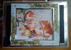 Hunkydory's Little Book of Christmas used to make this 3-layer decoupaged image (plus frame from the Festive Friends toppers in the Winter Wonderland collection from Hunkydory)