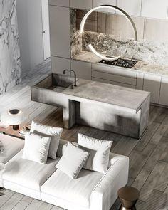 Nuance designed by Anastasiia Reznichenko -. Grey Home Decor, Home Decor Kitchen, Kitchen Interior, Home Design, Pedestal Dining Table, Staircase Design, Modern Kitchen Design, Living Room Interior, Interior Design Inspiration