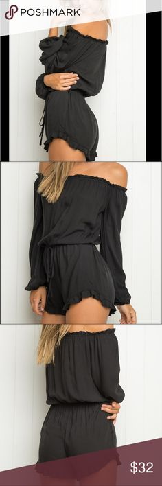 Black off the shoulder Brandy Melville romper Super cute black off the shoulder Brandy Melville romper! Brand-new w/o tags. Ordered online and due to my figure it was a bit too cheeky for my comfort. Brandy Melville Other