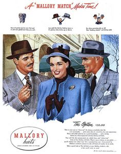 da5fc686155 Mallor Hats ad - 1946 1940s Mens Clothing