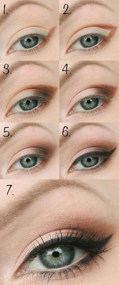 The right eye make-up for your eye shapes - 12 golden .- Das richtige Augen Make Up für Ihre Augenformen – 12 goldene Tipps The right eye make-up for your eye shapes – 12 golden tips – - Brown Eye Makeup Tutorial, Eyeliner Tutorial, Easy Eyeshadow Tutorial, Eyeshadow Tutorial For Beginners, Eye Shadow For Beginners, Makeup Tutorial Step By Step, Makeup Tutorial Blue Eyes, Teen Makeup Tutorial, Wedding Makeup Tutorial