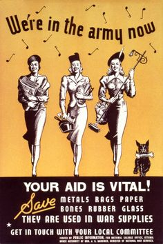WW2 Canadian propaganda poster encouraging women to help in the war effort through contributing salvaged items such as paper and rags.