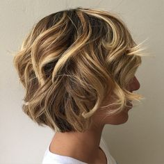 Curly Layered Brown Blonde Bob: Good Cut & Color