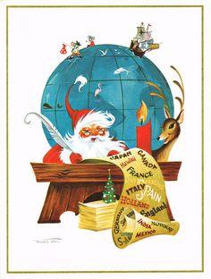 """""""World Traveler"""" by Frans Van Lamsweerde; vintage California Artists Christmas card"""
