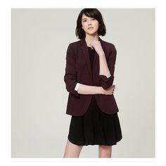 Primary Image of Petite Custom Stretch Blazer Burgundy Blazer, Fall Blazer, Blazer Jacket, Outfit Essentials, Work Fashion, Fashion Outfits, Line Jackets, Work Looks, Jacket Buttons