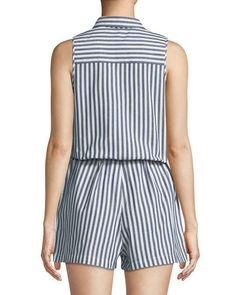 Shop Striped Cotton Shirting Romper from Dex at Neiman Marcus Last Call, where you'll save as much as on designer fashions. Mom Outfits, Summer Outfits, Casual Outfits, Stylish Dresses, Fashion Dresses, Dress Design Patterns, Funky Pants, Dedicated Follower Of Fashion, African Wear Dresses