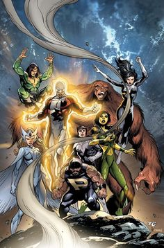 Alpha Flight: Guardian, Shaman, Sasquatch, Aurora, Snowbird, Northstar, and Marrina.