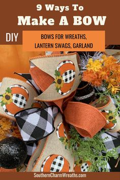 Wreath Crafts, Diy Wreath, Fall Crafts, Holiday Crafts, Crafts To Make, Diy Crafts, Wreath Bows, Diy Craft Projects, Craft Ideas