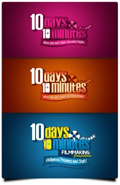 Logo Designed for a company called 10 Days 10 Min Filmmaking. This was a concept logo designed featuring what it would look like in different colors.    I've enjoyed working on this and being able to see it in high quality mode.
