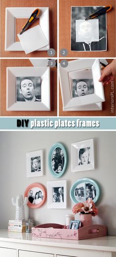 Great DIY - how to make frames from cheap plastic plates! Looking for more photos? Visit: http://interiorspl.com/strona-gwna/co-z-niczego-czyli-tani-pomys-na-ozdobienie-cian.html