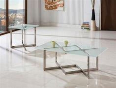 Contemporary Brushed Nickel Glass Metal Coffee Table Set