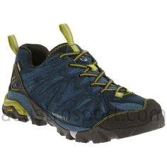 This suede running shoe keeps his feet comfortable thanks to a Merrell M Select™ FIT. A Vibram® Mega Grip sole offers ground-gripping traction. Unisex, Color Azul, Gore Tex, Hiking Boots, Running Shoes, Pamplona, Mens Fashion, Trail Running, Lima