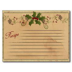 retro recipie card | Vintage Christmas Recipe Card Post Cards from Zazzle.com