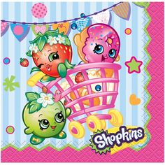 Shopkins Small Beverage Party Napkins 2Ply 16CT