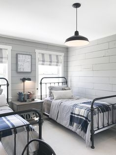 rustic farmhouse boy bedroom decor, shared boy bedroom design with two beds and shiplap, neutral shared boy bedroom design, kid room decor Home Decor Bedroom, Kids Bedroom, Living Room Decor, Twin Bedroom Ideas, Big Boy Bedrooms, Boy Rooms, Guest Rooms, Curtains For Boys Room, Boys Bunk Bed Room Ideas