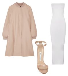 A fashion look from June 2016 featuring long dresses, pink coats and beige sandals. Browse and shop related looks. Beige Sandals, Wolford, Crepe Dress, Manolo Blahnik, White Dress, Fashion Looks, Coat, Polyvore, Pink