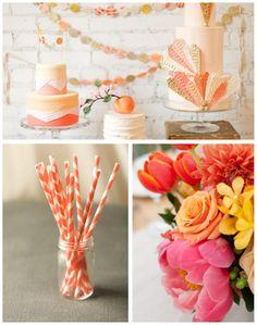orange peach pink wedding
