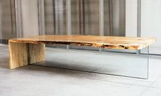 Original Looking Low Maple Table with Glass Leg from John Houshmand