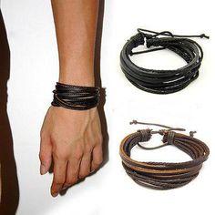 Man Leather Bracelet pulseras de piel Accessoires Homme Bracelet Homme Cuir Wrap Multilayer Leather Bracelet Cordao Feminino Brand new! Braided Bracelets, Bracelets For Men, Fashion Bracelets, Bangle Bracelets, Leather Bracelets, Fashion Jewelry, Bracelet Men, Bracelet Watch, Tribal Bracelets