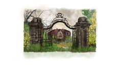 Iron gates - digital art charcoal