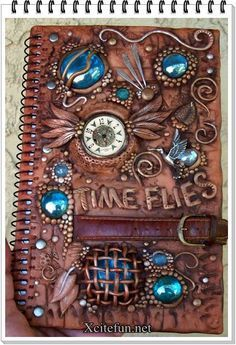 Polymer clay journal cover time flies
