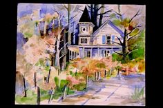 House in winery during the fall season!  Mendocino  watercolor painting by Patricia Osborne