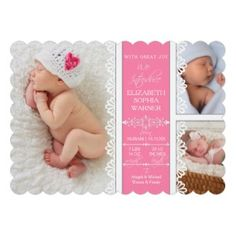 Modern Simple Lace Newborn Baby Girl Photograph Cards