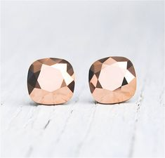 Rose Gold Metallic Earrings Swarovski Crystal Rose Gold Metallic Square Stud Earrings Mashugana on Etsy, $19.50