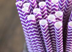 Purple Paper Straws - Purple Chevron Straws - Wedding Decor, Halloween, Bridal, Baby Shower Party Supplies, decorative paper goods (n.127)