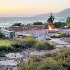 Bernard Trainor Wrests a Big Sur Landscape Back from the Edge - San Francisco Cottages & Gardens - June 2015 - San Francisco Coastal Gardens, Beach Gardens, Garden Landscape Design, Landscape Architecture, Big Sur, Outdoor Fire, Outdoor Living, Dwell On Design, Fire Pit Area