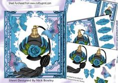 Blue Mood Perfume From Paris, With Blue Rose 8x8 Kit