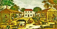 Slaves Working in 17th-century Virginia. By unknown artist ca. 1670 (Wikimedia)