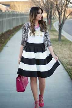 Shoe Dazzle Pink bag, Go Jane pink heels, JCrew leopard cardigan, Style Lately love tee, GroopDealz necklace and striped skirt. Spring outfit on The Red Closet Diary Blog. #fashionblogger