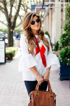 How To Style A Bell Sleeve Top For Spring: 3 Chic Looks silk scarf neck tie, peplum sleeve top, navy rag and bone pants Ways To Wear A Scarf, How To Wear Scarves, Scarf Outfit Summer, Summer Outfits, Casual Outfits, Fashion Outfits, Womens Fashion, Style Fashion, Silk Neck Scarf