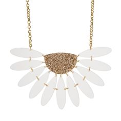 Our XL Daisy Necklace, consisting of matte white laser cut acrylic petals and a gold glittery bud is bound to make you the centre of attention. It measures approximately wide and hangs from a chunky gold plated 16 chain. Wooden Jewelry, Diy Jewelry, Jewelry Box, Fashion Jewelry, Jewellery, Daisy Necklace, Gold Necklace, Laser Cut Jewelry, Laser Cut Acrylic