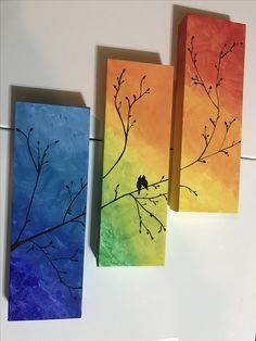 Birds On Tree Shaded Background Triptych Painting Room Decor