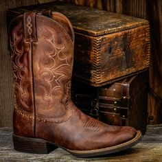 """Laredo Breakout 68354 Men's 12"""" Square Toe Cowboy Boots - Boyers BootNShoe"""