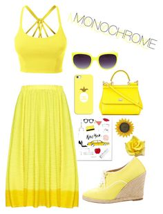 """""""Untitled #97"""" by jamiekane on Polyvore featuring LE3NO, Pleats Please by Issey Miyake, Christian Louboutin, Casetify, Dolce&Gabbana, cute, yellow and Trendy"""