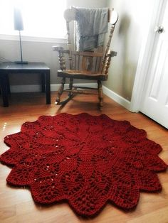 Giant Crochet Doily Rug in Geometric Petals Design- Ruby Red -Handmade-Cottage Chic- Oversized- made to order