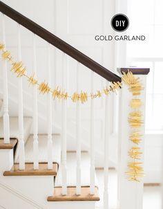 DIY Gold Holiday Garland: Photography: Ruth Eileen - http://rutheileenphotography.com/