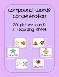 Compound words game for your literacy centers.