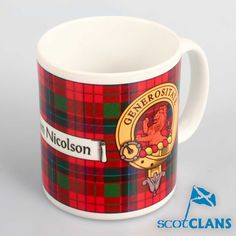 Nicolson Clan Crest Mug. Free worldwide shipping available